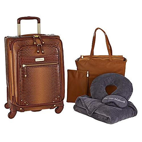 Samantha Brown Ombré Croco Embossed 6-piece Luggage Set - Caramel