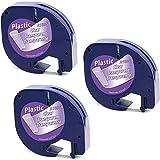 3x MarkField Étiquettes compatible pour Dymo Letratag Ruban Plastique Noir sur Transparent Recharge, Compatible ave LT-110T LT-100H QX 50 XR XM 2000 Plus, 12mm x 4m