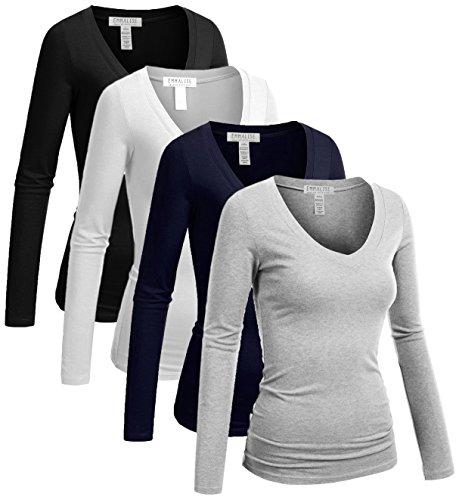 Emmalise Long Sleeve V Neck T Shirt Women Tee - 4Pk-Navy,Black,H Gray,White, S