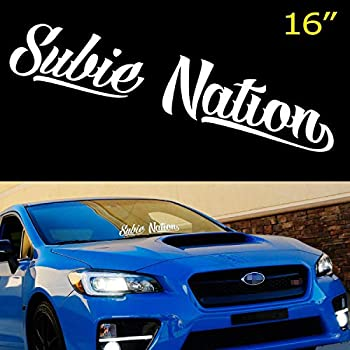 iJDMTOY  1  16 By 3 Inches White Subie Nation Banner Vinyl Decal Sticker Compatible With Subaru WRX/STi BRZ Impreza Legacy etc Front or Rear Windshield