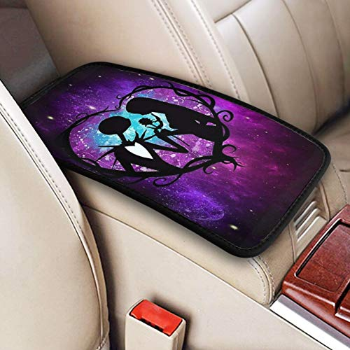 Kechun The Nightmare Before Christmas Universal Auto Center Console Pad Car Armrest Cushion Seat Box Cover Protector for Most Vehicle SUV Truck Car Accessories