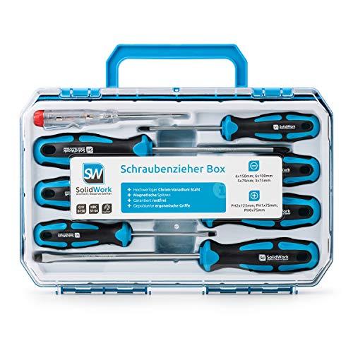 SolidWork Schraubendreher Set 8tlg in robustem Werkzeugkoffer – Magnetischer Schraubenzieher Satz aus hochwertigem Chrom Vanadium inkl Spannungsprüfer