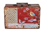 Sarah B Truhe Kiste KD 1290 Koffer, Kofferset, Holztruhe mit edlem Leder bezogen im Vintage Look, Schatzkiste,Kiste, Piratenkiste
