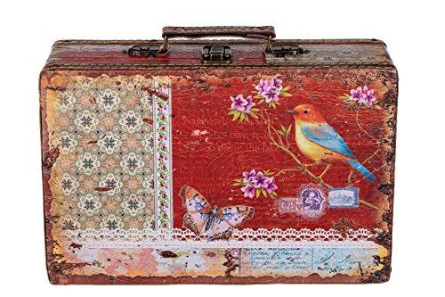 Sarah B Truhe Kiste KD 1290 Koffer, Kofferset, HolztruheVintage Look, Schatzkiste,Kiste, Piratenkiste Größe L Rot 31cm