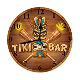 Moslion Tribal Clock Word Tiki Bar Wooden Bamboo Torch Circle Round Wall Clock Slient Non Ticking Rustic Home Decor 10 Inch for Kitchen Bathroom Office Brown White