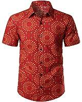 JOGAL Men's Paisley Boho Button Down Short Sleeve Hawaiian Shirt (Red Yellow, XX-Large)