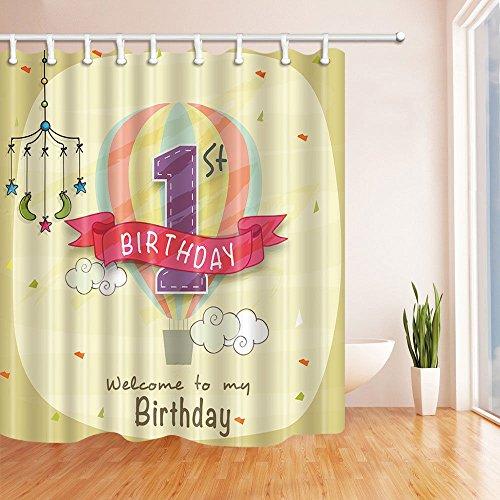 taquxinlaowan Willkommen zu Meinem Geburtstag Duschvorhang wasserdichtem Polyestergewebe und 12Hooks