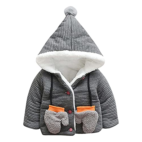 Chaqueta de invierno con capucha acolchada para niños y niñas, con guantes, resistente al viento (1-6 años), gris, 4-5 Años