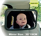 Kids Kits Espejo del asiento trasero con correas ajustables con función de inclinación, vista clara de su bebé 100% irrompible, rotación de 360 °, 30 x 19 cm
