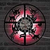 WERWN Pet Cachorro Corgi CD Vinilo Creativo Reloj de Pared decoración Regalo
