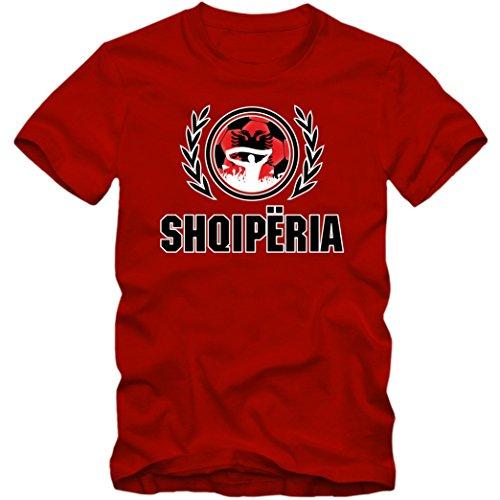 Albanien WM 2018#2 T-Shirt   Herren  Trikot  Nationalmannschaft   Shqiperia, Farbe:Rot (Red L190);Größe:XXL