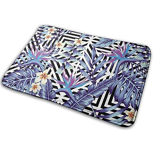 Alfombra Plantas y Flores Tropicales Alfombrilla de Estilo Azul Transparente Alfombra Interior Alfombra Decorativa para el hogar 60 * 40 * 0.8 cm (23.5x15.7 Pulgadas)