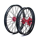 TARAZON 21' 19' Front Rear Complete Wheel Set Rims Spokes Red Hubs for Honda CRF250R CRF450R 04-12 CRF250X CRF450X 04-17