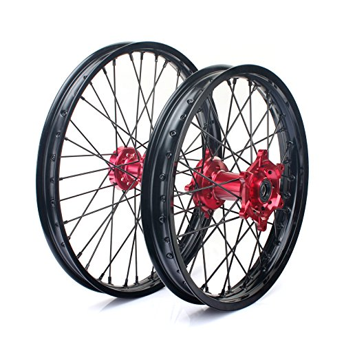 "TARAZON 21"" 19"" Front Rear Complete Wheel Set Rims Spokes Red Hubs for Honda CRF250R CRF450R 04-12 CRF250X CRF450X 04-17"