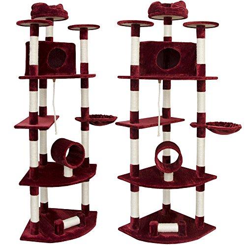 EYEPOWER 205cm Eckkratzbaum - Kletterbaum für Katzen - Sisal Kratzbaum - Eck Katzenbaum Rot