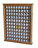 110 Golf Ball Display Case Wall Cabinet Holder Shadow Box, Solid Wood (Oak Finish)