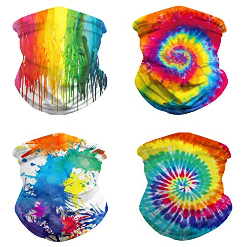 4 Pack Tie Dye Mask, Cooling Neck Gaiters for Men Women Summer, Rainbow Face Mask Rave Bandana Balaclava Magic Scarf
