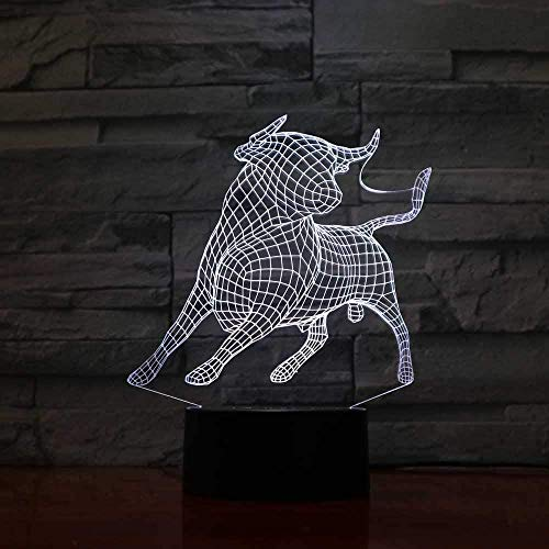 3D Night Light 7 Colors Changing 3D Bedroom Decoration Atmosphere Cattle Led Night Light Animal Ox Modelling Table Lamp Baby Sleep Lighting Gift