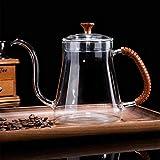 350/600Ml Glashandtopf, Kleiner Mundkaffeekanne, Gießen Sie Über Kaffeemaschine Mit Griff Borosilikatglas Kaffee Teekanne Für Kochplatten Sicher,1