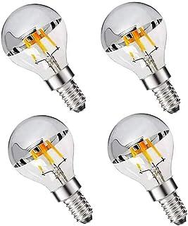 LDCHIUEN G45 G14 4W Dimmable Silver Tipped LED Filament Half Chrome Crown Globe Light Bulb E12 Candelabra Bulb 40 Watt War...