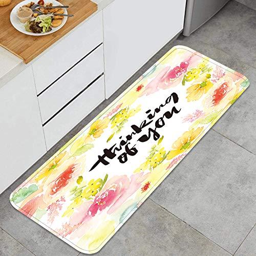 ZHIMI Multiuso Tappeti Cucina,Acquerello Biglietto di Auguri Fiori Fatti a Mano,Antiscivolo Tappeti per Cucina Lavabile Tappeti Bagno Zerbino Tappeto 45 x 120cm