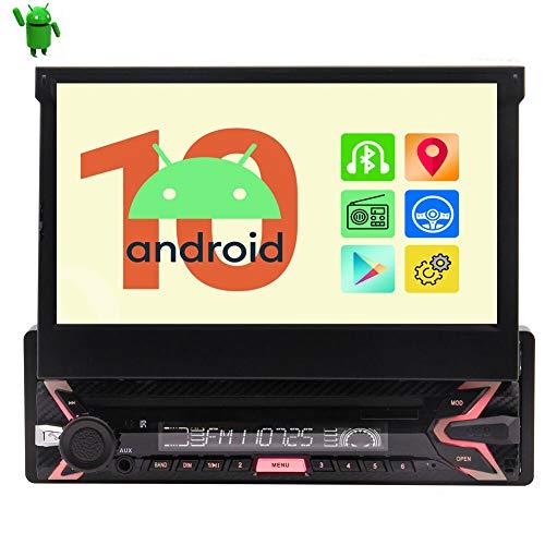 Última radio Android 10.0 OS Estéreo para automóvil de un solo din con Bluetooth Radio para automóvil Pantalla táctil abatible de 7 pulgadas Unidad de navegación GPS WIFI USB / SD FM / AM Mirr
