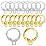 TOAOB 200pcs Brass Lever Back Earring Hooks French Earwires Hypo Allergenic 12.5x14.6mm Silver and Gold Set for Jewelry Making