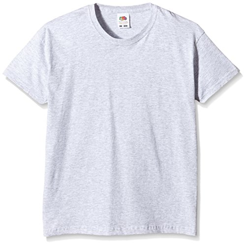 Fruit of the Loom Jungen T-Shirt Ss132b, Grau - Grey (Heather Grey), Gr. 152 CM (Herstellergröße:12-13 Jahre)