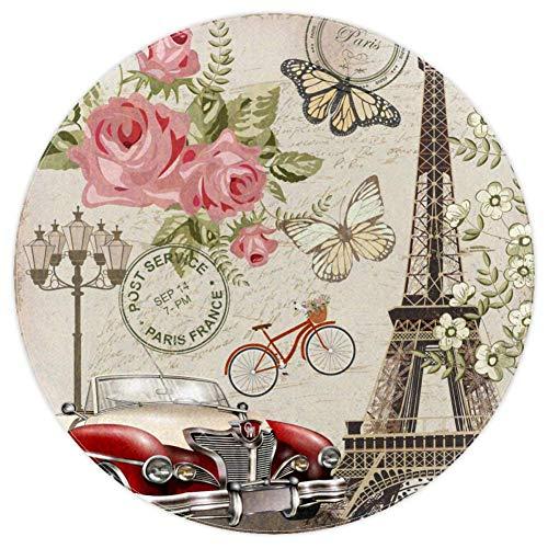 Ronde Ruimte Tapijt Vintage Parijs Ansichtkaart Tapijt Antislip Achterkant voor Woonkamer Slaapkamer Studie Kinderen Speelkamer Moderne Kunst Home Decor