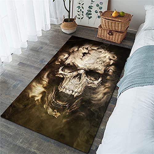 XuJinzisa Cráneo 3D Área De Impresión Alfombra Franela Alfombra Súper Suave Sala De Estar Alfombra De Dormitorio 140X200Cm N4702