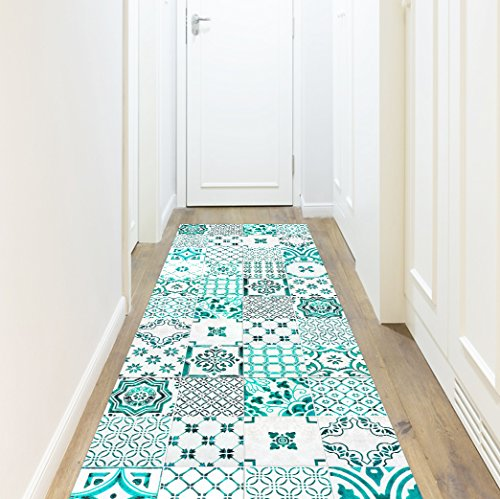 Vinyl tapijt, Barcelona, turquoise, 66 x 250 cm