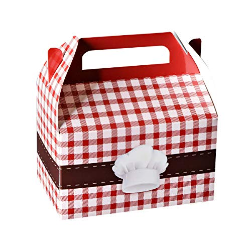 Hammont Paper Treat Boxes - Party Favors Treat Container Cookie Boxes Cute Designs Perfect for Parties and Celebrations 6.25' x 3.75' x 3.5' (10 Pack) (Chef Treat)