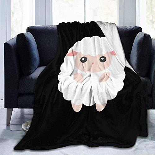 Manta de forro polar, diseño de ovejas de dibujos animados, ligera, supersuave, cálida, cómoda, manta de forro polar para sofá, cama, sofá o silla infantil de 60 x 50 pulgadas