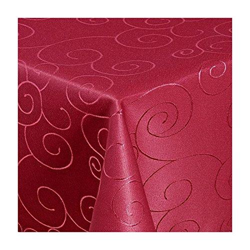 TEXMAXX Damast Tischdecke Maßanfertigung im Ornamente-Design in Wein-rot 140x220 cm eckig, weitere Längen sind wählbar