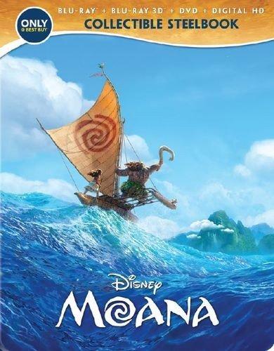 Disney's MOANA Steelbook (3D Blu-ray + 2D blu-ray + DVD + Digital HD Steelbook) [Exclusive Limited US Edition]