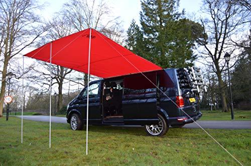 Toldo de Wild Earth para furgoneta, caravana, autocaravana o caravana, 240 cm x 300 cm, color rojo