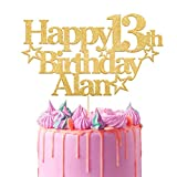 EDSG Personalised Happy Birthday Cake Topper | Custom Party Decoration with Any Name Any Age | Multicolour Glitter Cake Topper 13th 16th 18th 21st 30th 50th 60th 80th Hand Finished in UK