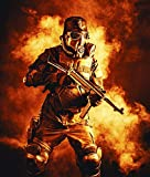 Posterazzi PSTZAB103018M Futuristic Nazi Soldier Wearing a Gas mask and Holding a Submachine Gun in fire and Smoke Photo Print, 11 x 17, Multi