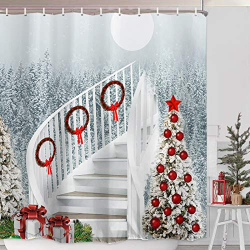 ORTIGIA Merry Christmas Shower Curtain Set Christmas Stairs Bath Curtains White Snow Night Xmas Tree Eve New Year Decorative Hooks Included Waterproof Polyester Fabric 72x72 inch