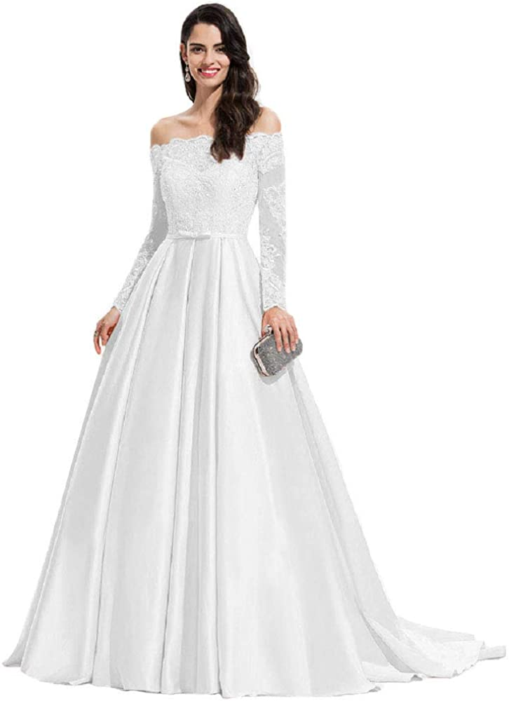 Clothfun Off Shoulder Satin Long Formal Dresses for Women Lace Evening Gowns with Sleeves Prom Dresses Cf070