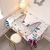 Mantel Antimanchas Rectangular Protector de Mesa Lavable Impermeable Manteles 80X130Cm Mantel Rectangular Adecuado para La decoración de La Cocina - Conejito Blanco, Lindo
