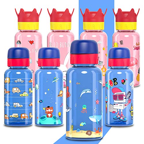 Smitave Kids Water Bottle, 400ml Flip Lid Cartoon Water Bottle - BPA-Free Reusable with Stretch nozzle and Leakproof cap for Kid,Boys and Girls,Gift (Ocean)