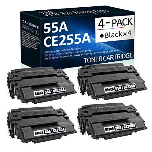 4 Pack 55A   CE255A Black Compatible Toner Cartridge Replacement for HP Laserjet P3015d P3015n P3015dn MFP M521dw;Enterprise 500 MFP M525;Flow MFP M525c Printer Toner,Sold by CalciuInk.