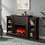 Della 70 in. Built-in Bookshelves with 28' Electric Brown Fireplace and 1400W Charred Log Insert
