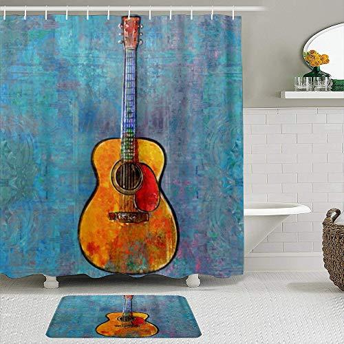 FOURFOOL Cortinas con Ganchos,Pintura Guitarra Acústica,Decoraciones de Cortinas de Ducha Alfombra de Baño Moderno