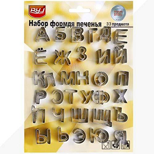 33 Unids/Set Letras Del Alfabeto Ruso Cortadores De Galletas De Metal Cortador De Fondant Para Hornear Galletas Galletas Molde Herramientas De Decoración De Pasteles