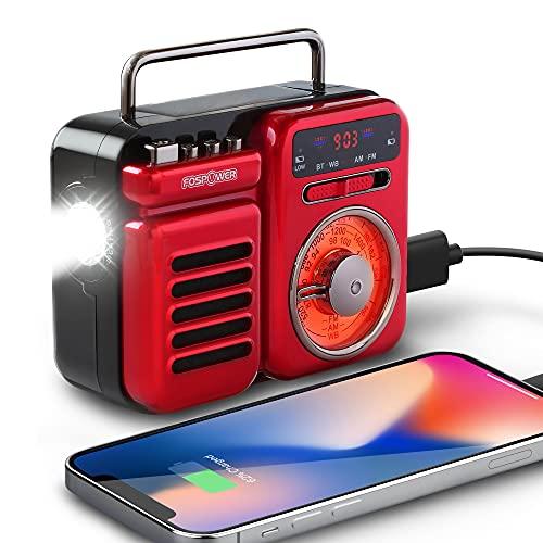 FosPower 2000mAh Emergency Weather Radio, Portable Radio w/ 5.0 Bluetooth Speaker & 3 Power Source