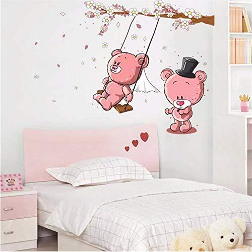 LLLYZZ Cartoon paar beer schommel tak muursticker voor kinderkamer kleuterschool baby kinderkamer wooncultuur kunstwand DIY sticker 50 * 70 cm