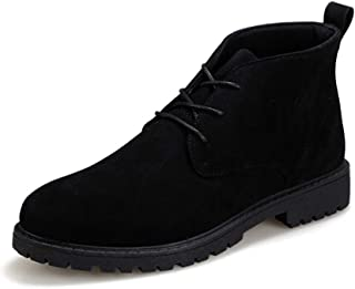 HongYi Men Ankle Boots For Chukka Boot Lace Up Round Toe Suede Upper Stitch Short Tube Solid Color Anti-slip Lug Sole Low Heel Hiking Boots Men (Color : Black, Size : 41 EU)
