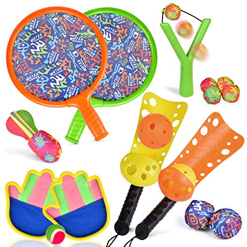 FUN LITTLE TOYS Sports Outdoor Games Set with Scoop Ball Toss, Toss and Catch Games, Tennis Racket Sports Toy, Slingshot Rocket Copters Water Toys for Kids, 17 Pieces